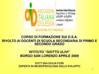 SEZIONE DI FIRENZE CORSO DI FORMAZIONE SUI D.S.A.