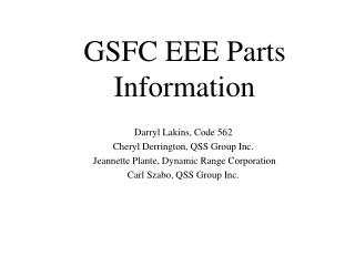 GSFC EEE Parts Information
