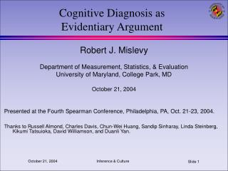 Cognitive Diagnosis as Evidentiary Argument