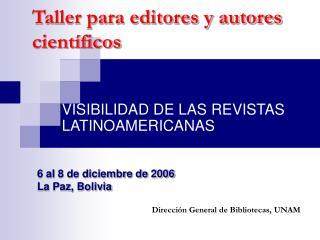 Taller para editores y autores científicos