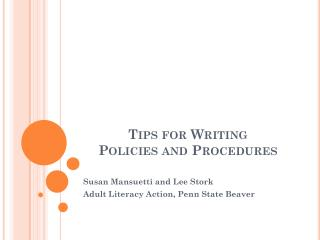Tips for Writing  Policies and Procedures