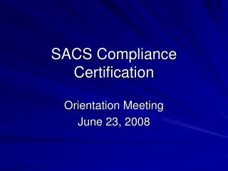 SACS Compliance Certification