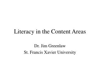 Literacy in the Content Areas