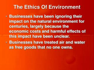 The Ethics Of Environment