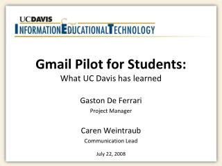 Gmail Pilot for Students:  What UC Davis has learned
