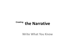Writing a Narrative