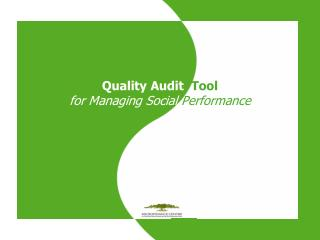 Quality Audit Tool for Managing Social Performance
