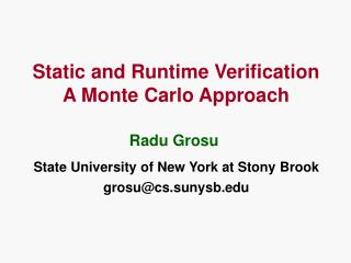 Static and Runtime Verification A Monte Carlo Approach