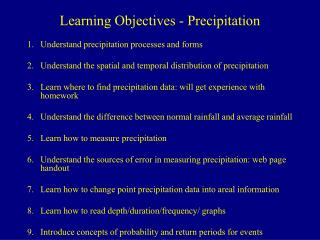 Learning Objectives - Precipitation