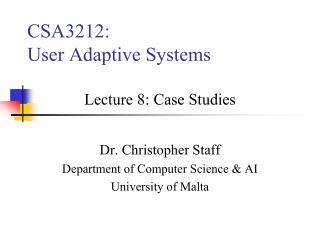 CSA3212: User Adaptive Systems