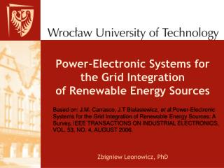 Power-Electronic Systems for the Grid Integration of Renewable Energy Sources