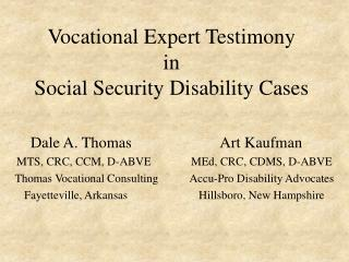 Vocational Expert Testimony in Social Security Disability Cases