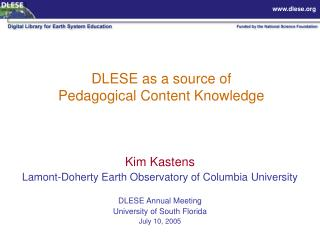 DLESE as a source of  Pedagogical Content Knowledge