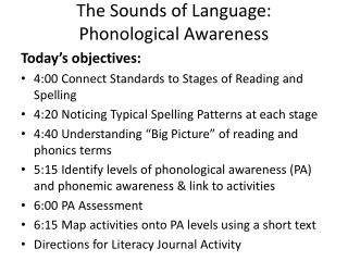 The Sounds of Language:  Phonological Awareness