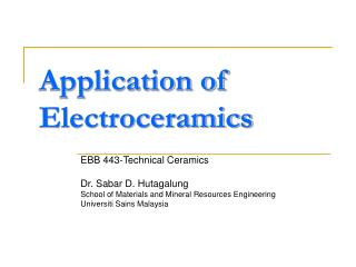 Application of Electroceramics