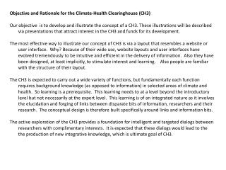 Objective and Rationale for the Climate-Health Clearinghouse (CH3)