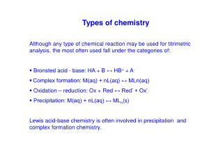 Types of chemistry