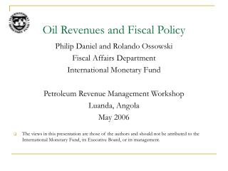 Oil Revenues and Fiscal Policy