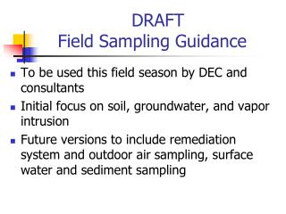 DRAFT  Field Sampling Guidance