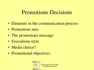 Promotions Decisions