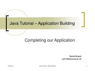 Java Tutorial – Application Building