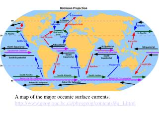 A map of the major oceanic surface currents.