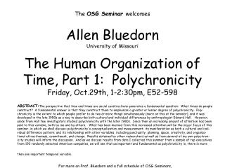 The  OSG Seminar  welcomes