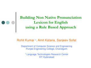 Building Non Native Pronunciation Lexicon for English  using a Rule Based Approach