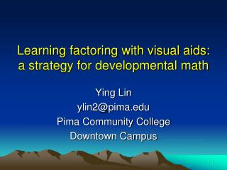 Learning factoring with visual aids: a strategy for developmental math