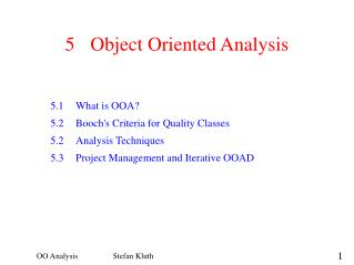 5	Object Oriented Analysis