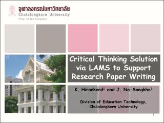 Critical Thinking Solution via LAMS to Support Research Paper Writing