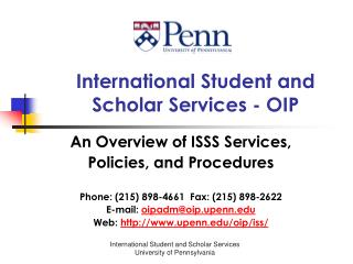 International Student and  Scholar Services - OIP