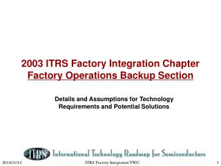 2003 ITRS Factory Integration Chapter  Factory Operations Backup Section