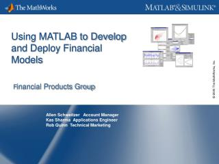 Using MATLAB to Develop  and Deploy Financial Models