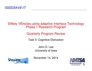 Task 5: Cognitive Distraction John D. Lee University of Iowa November 14, 2014