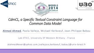 C dm CL , a Specific Textual Constraint Language for Common Data Model