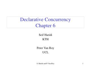 Declarative Concurrency Chapter 6
