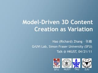 Model-Driven 3D Content Creation as Variation