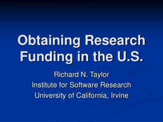 Obtaining Research Funding in the U.S.