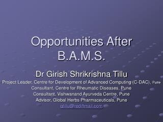 Opportunities After B.A.M.S.