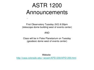 ASTR 1200 Announcements