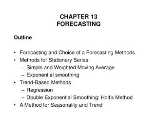 CHAPTER 13 FORECASTING