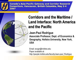 Corridors and the Maritime / Land Interface: North America and the Pacific