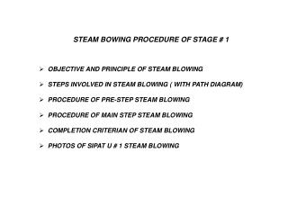OBJECTIVE AND PRINCIPLE OF STEAM BLOWING   STEPS INVOLVED IN STEAM BLOWING ( WITH PATH DIAGRAM)