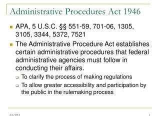 Administrative Procedures Act 1946