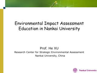 Environmental Impact Assessment Education in Nankai University