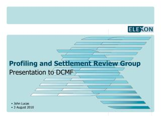 Profiling and Settlement Review Group