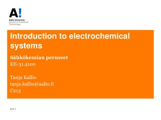 Introduction to electrochemical systems