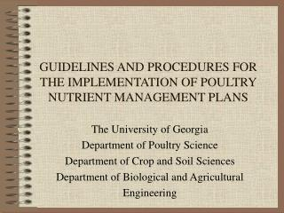 GUIDELINES AND PROCEDURES FOR THE IMPLEMENTATION OF POULTRY NUTRIENT MANAGEMENT PLANS