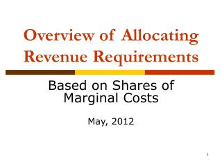 Overview of Allocating Revenue Requirements